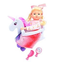 Muñeca Bebe Con Mecedora Unicornio
