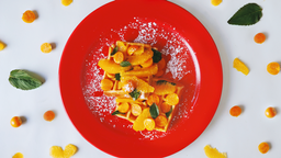 Waffle Naranja y Aguaymanto