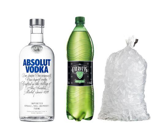 Vodka Absolut 750 Ml +Evervess 1.5Lt + Hielo 1.5 Kg