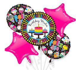 01 Bouquet De Globos Birthday Wishes - Inflado Con Helio