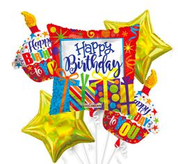 01 Bouquet De Globos Happy Birthday Cake - Inflado Con Helio