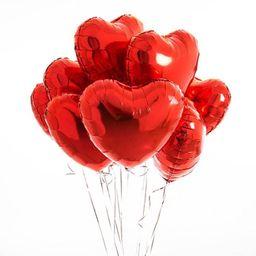 01 Bouquet De 8 Globos Corazones Rojos - Inflado Con Helio