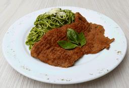 Spaghettis al Pesto con Bistek Apanado