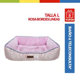 Cama Rectangular Rosa Borde Lineas Talla L (Qs144121L)