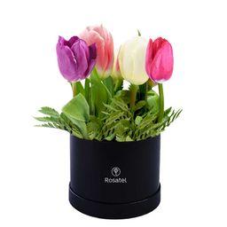 Caja Sombrerera Negra Pequeña Con 9 Tulipanes Colores Varios