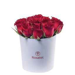 Sombrerera Blanca Mediana con 12 Rosas