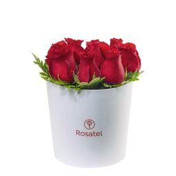 Sombrerera Blanca Mediana con 9 Rosas