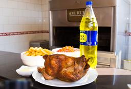 Pollo a la Brasa con Papas, Ensalada y Bebida