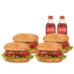 4 Listo Hamburguesa Clásica + 4 gaseosas 300Ml