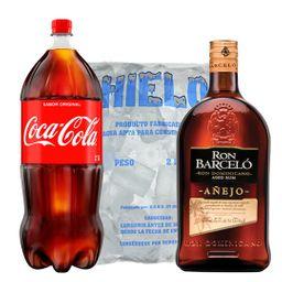 Ron Barcelo 1.75 L + Coca 3 L + Hielo 2 kg