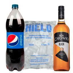 Ron Cartavio Black 1L + Pepsi 1.5 L + Hielo 2 kg