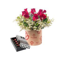 Sombrerera Natural Con 10 Rosas Y Flores Más 5 Bombones
