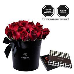 Sombrerera Negra Grande Con 24 Rosas Rojas Y Bombones Sorini