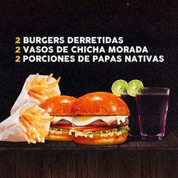 2 Burgers Derretida Papas y Bebidas