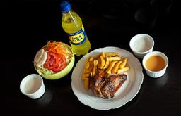 1/4 Pollo + Papas + Ensalada + Gaseosa Personal
