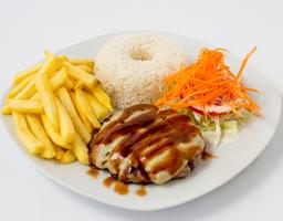 Hamburguesa en Salsa BBQ con Queso