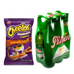 Cheetos Flamin Hot 120 Gr. + Pilsen Six Pack Bot.