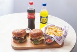 2 Cheese Burger + 1 Papas + 2 Bebidas
