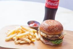 1 Cheese Burger + Papas + 1 Bebida