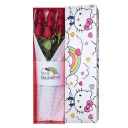 Caja Hello Kitty Arco Iris Con 9 Rosas Rojas