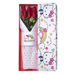 Caja Hello Kitty Arco Iris Con 6 Rosas Roja