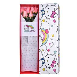 Caja Hello Kitty Arco Iris Con 6 Rosas Rosadas