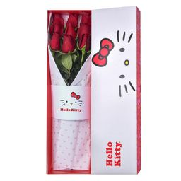 Caja Lazos De Hello Kitty 9 Rosas Rojas