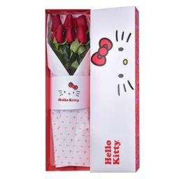 Caja Lazos De Hello Kitty 6 Rosas Rojas