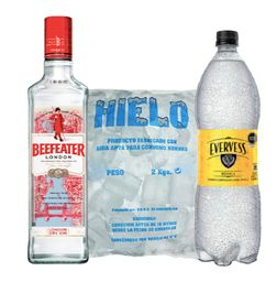 Gin Beefeater cl�sico 750ml+Agua T�nica Evervess 1.5L+Hielo 2kg