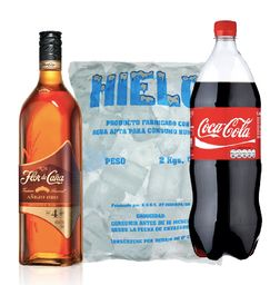 Ron Flor de Ca�a 4 a�os + Coca Cola 2 L + Hielo 2 kg