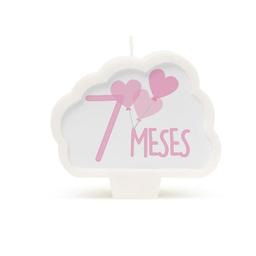 Vela 7 Meses Aniversario Rosado