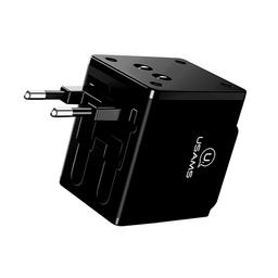 Usams Adaptador Universal 110-240 V Usb Dual Negro Us-Cc044