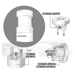 Usams Adaptador Universal 110-250 V Max 2200 Watts Blanco