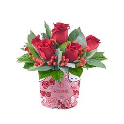 Caja Sombrerera Con 6 Rosas Rojas