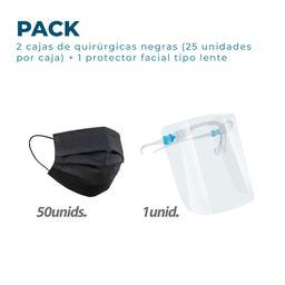 50 Mascarillas Quirúrgicas Negras+1 Protector facial tipo lente