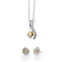 Baliq Set Collar y Aretes Tara Oro Plata 925-OSGS0088