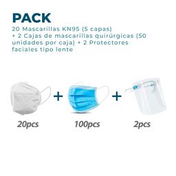 Mascarilla + Mascarilla Quirúrgica + Protector Facial
