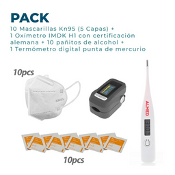 Oxímetro + Termómetro Digital + Mascarilla + Pañito de Alcohol