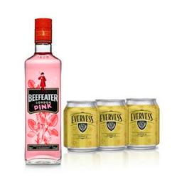 Gin Beefeater Pink 750 ML.+ 3 Evervess Tónica 237 ML