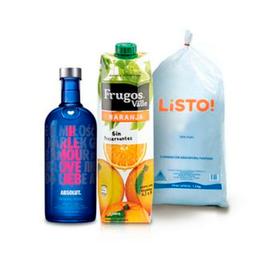 Vodka Absolut Drop of Love 750 Ml+Frugos Naranja 1Lt+Hielo 1.5Kg