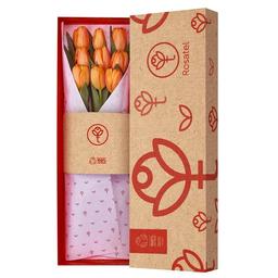 Caja Natural Con 9 Tulipanes Naranjas