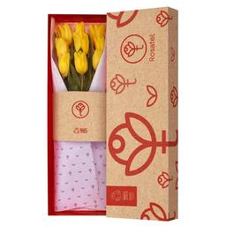 Caja Natural Con 9 Tulipanes Amarillos