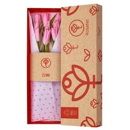 Caja Natural Con 9 Tulipanes Rosados
