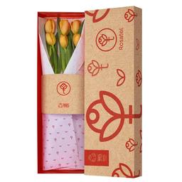 Caja Natural Con 6 Tulipanes Naranjas