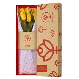 Caja Natural Con 6 Tulipanes Amarillos