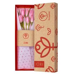 Caja Natural Con 6 Tulipanes Rosados