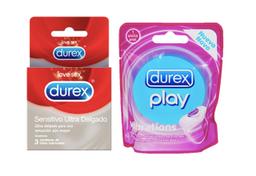 Durex Anillo Vibrador + Durex Sensitivo Ultra Delga X 3 Unidades