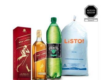 Whisky Johnnie Walker Redlabel750 Ml+ Evervess 1.5Lt+Hielo 1.5Kg