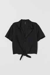 H&M Blusa Black Dark Solid Black 005