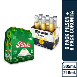 Pilsen Cerveza Six Pack + Corona Cerveza Six Pack